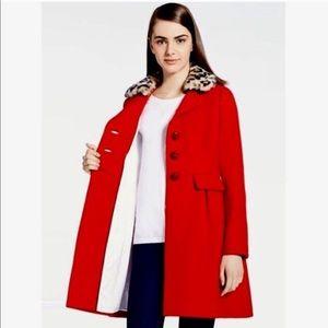Kate Spade Red Wool Leopard Collar Coat